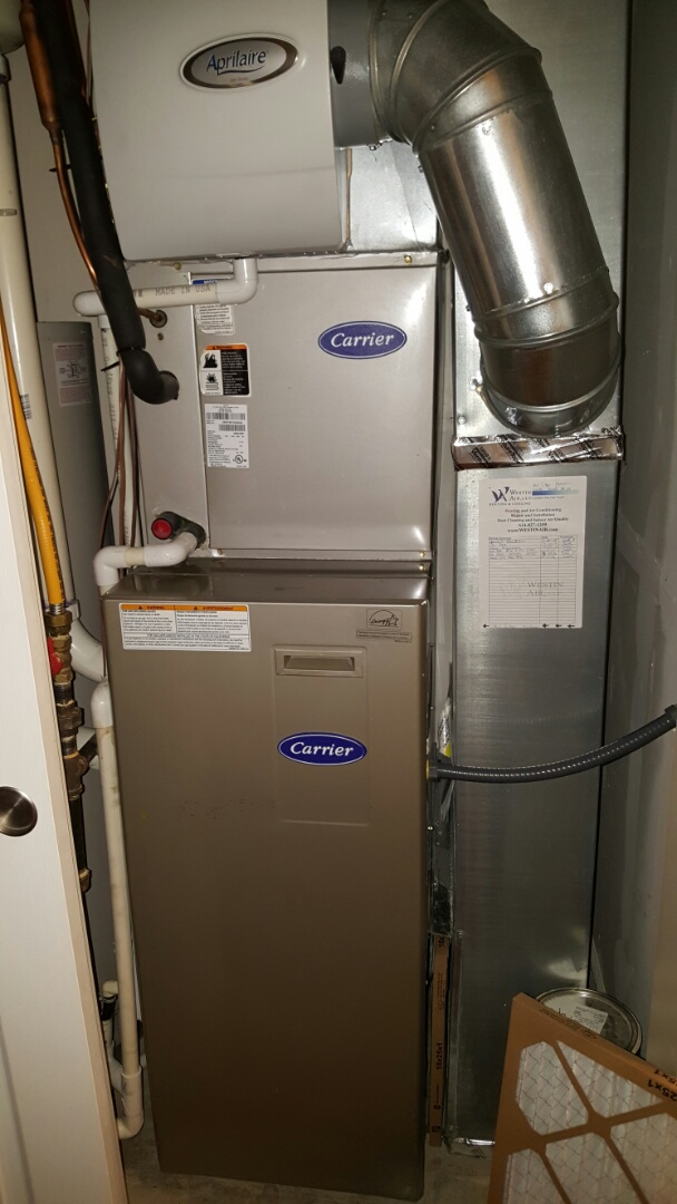 New Albany, OH - Carrier high efficiency heating system tune-up and cleaning the Aprilaire 600 manual humidifier