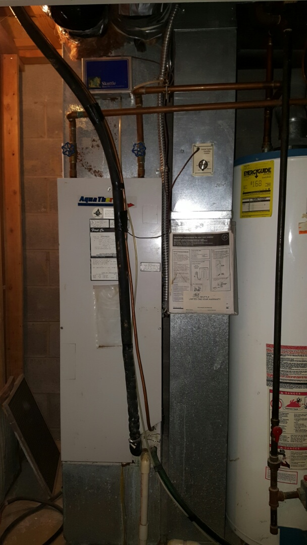 Hilliard, OH - Aquatherm water coil air handler heating Maintenance Cleaning and filter rotation Scuttle cool mist humidifier service Bennigan Dr. Hilliard, OH 43026