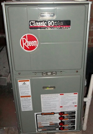 Sunbury, OH - Rheem Classic 90-plus high efficiency LP propane gas heating tune up, cleaning, and preventive maintenance service N. 3 B's And K Rd Sunbury, OH 43074