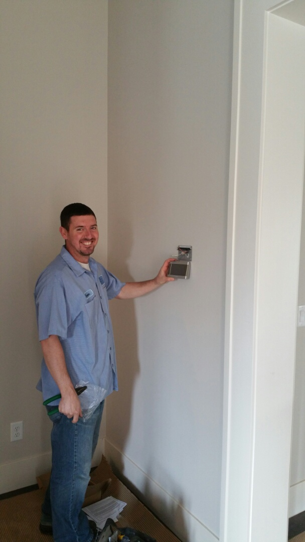 Dublin, OH - Installing a Trane XL824 thermostat in a new construction house built by 3 Pillar Homes.