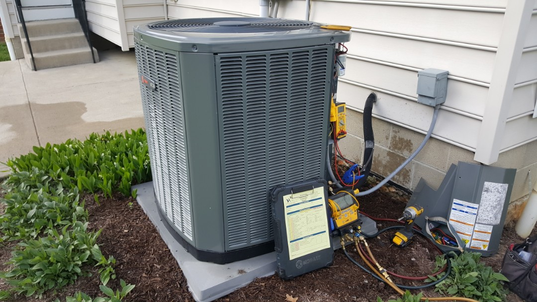 Lewis Center, OH - Super high efficient Trane xl16i 16 seer puron digital refrigerant analysis with coil cleaning and subcooling temperature balance Lavender Lane Lewis Center, OH 43035