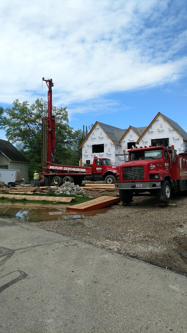 Dublin, OH - Drilling vertical loops for 5 system Water Furnace 7 series Geothermal systems in new construction home in Muirfield.