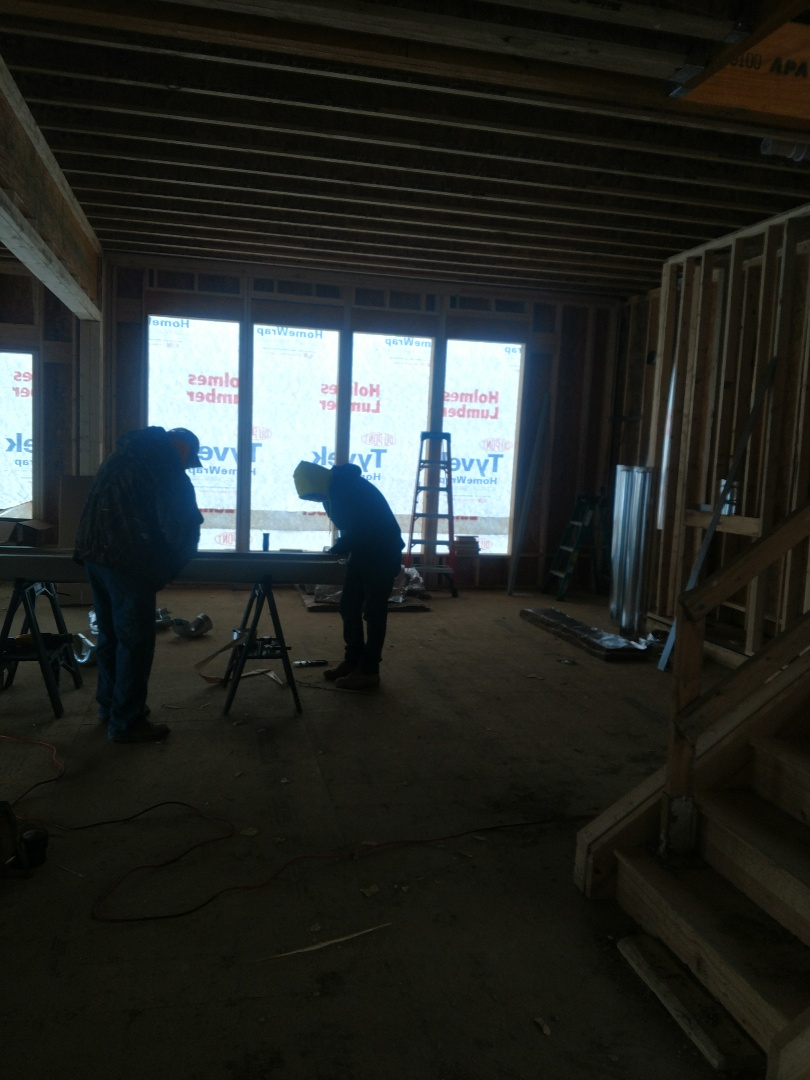 Galena, OH - Installing duct work in new construction 3 Pillar home near Galena.
