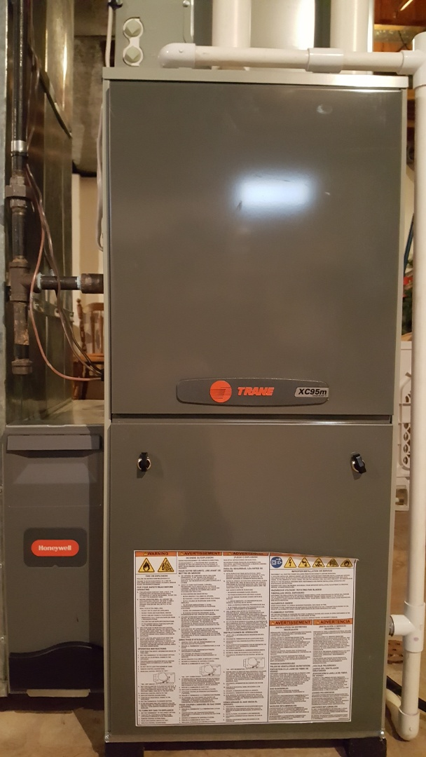 Westerville, OH - Ultra high efficient Trane XC95M modulating variable speedNexia Communicating gas heat furnace  Preventive maintenance inspection and minor Aprilaire 500 humidifier repairs Olde Mill Drive Westerville, OH 43082