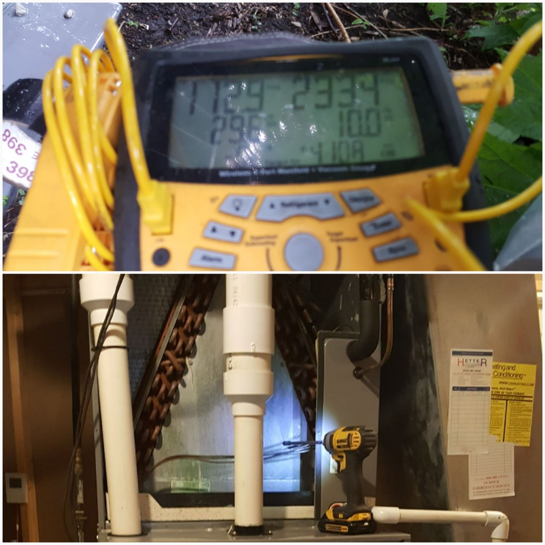 Lewis Center, OH - Evaporator A coil digital pressure testing during gold membership Energy savings agreement cleaning and inspection