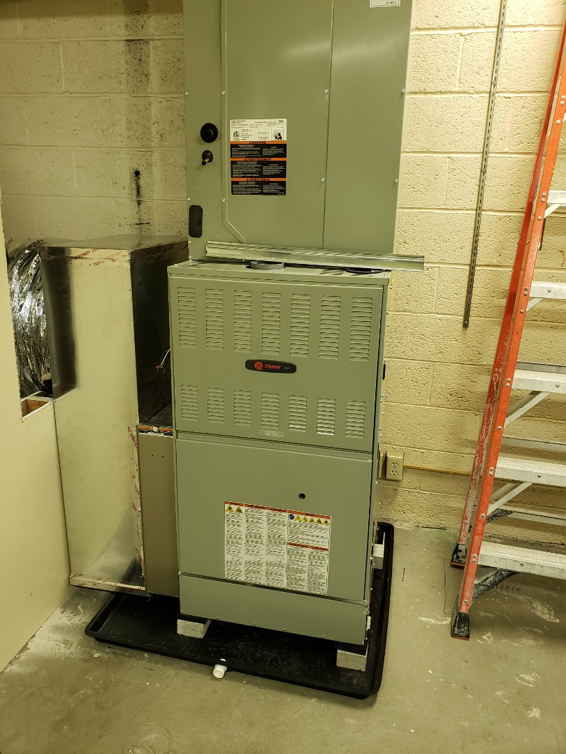 Installing Trane gas furnace  at the Lookup Center in Newark.