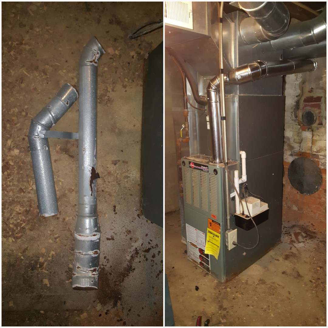 Mount Vernon, OH - Rheem 80% rotten flue replacement.  Carbon monoxide poisoning risk Locust St. Mount Vernon, OH 43050