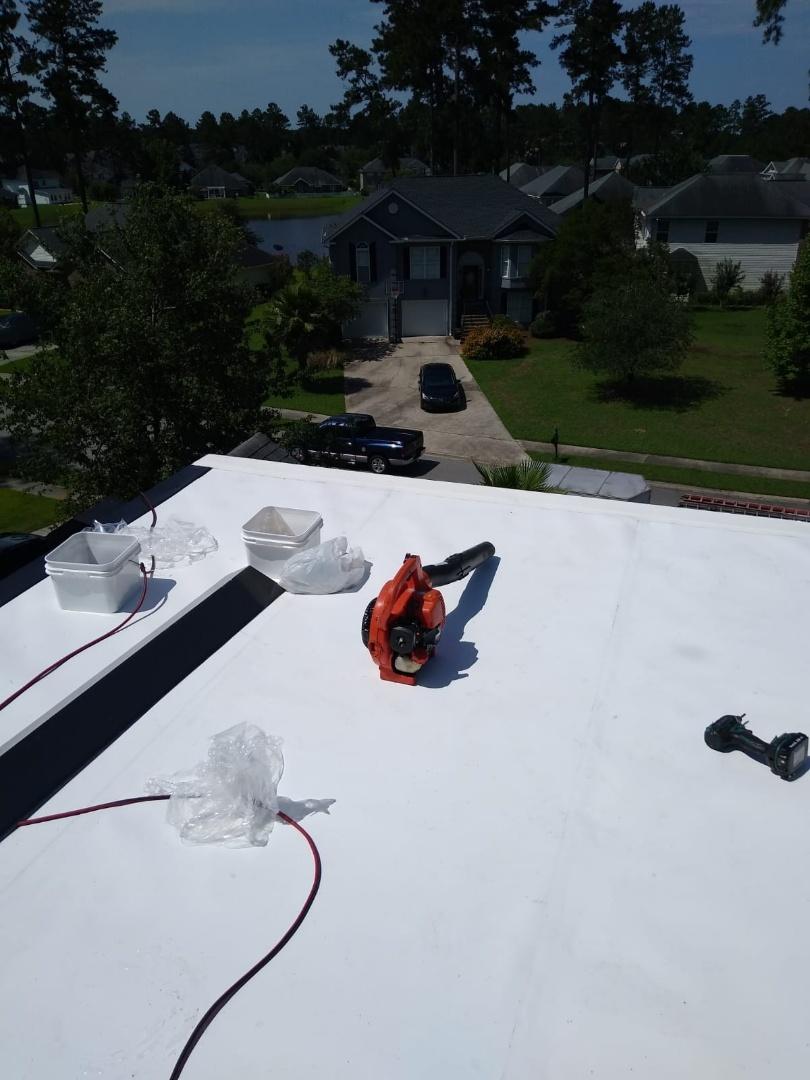 Pooler, GA - Completed another low slope roof repair. We removed existing membrane and installed new TPO system. Customer will have no more problems.