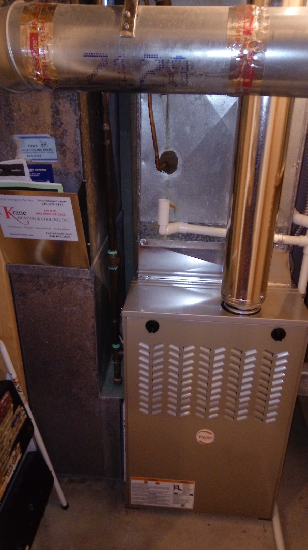Clarkston, MI - Installed a Payne 80% efficient furnace