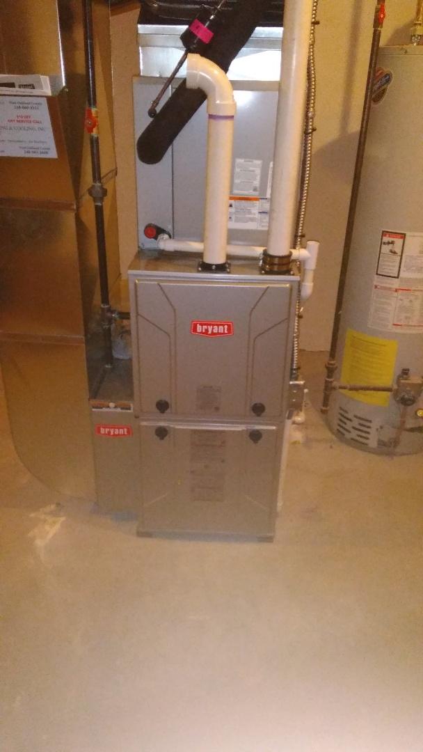 Holly, MI - Installed an 80000 BTU Bryant furnace