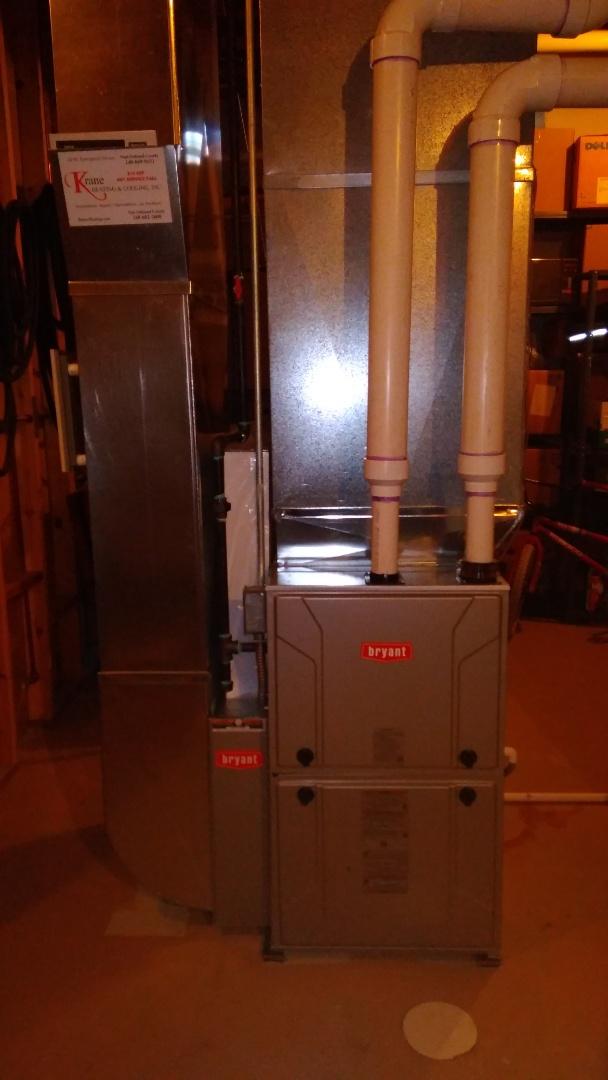 Installed a hundred thousand BTU Bryant furnace 96% efficient
