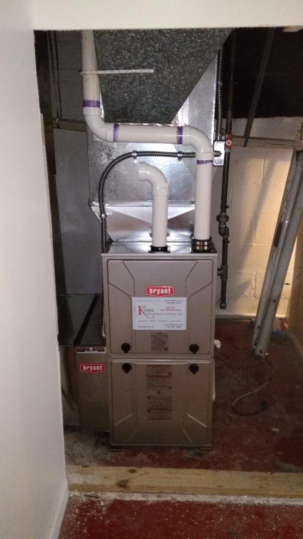Installed an 80000 BTU Bryant furnace 96% efficient