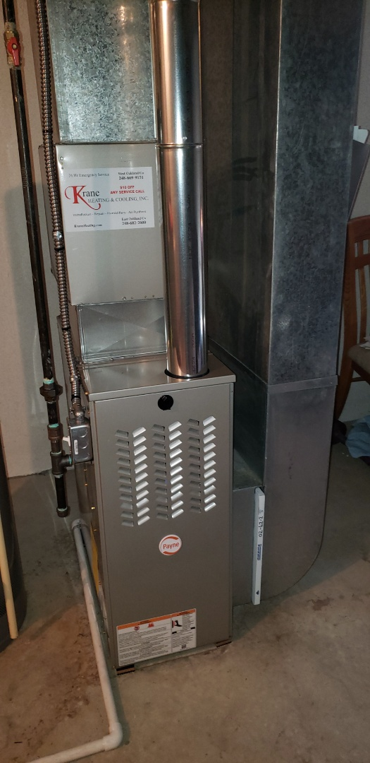 Waterford Township, MI - Just finished a Payne 80% efficient furnace