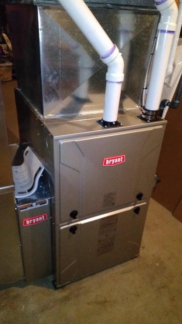 Installed a hundred thousand BTU Bryant furnace 96% efficient in Ortonville Michigan
