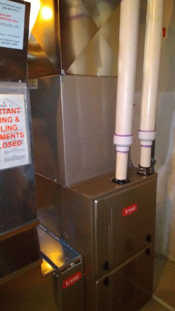 Rochester Hills, MI - Installed a hundred thousand BTU Bryant high efficient furnace