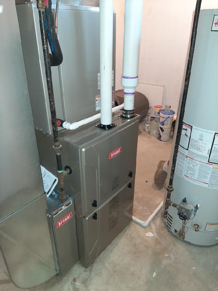 Installed a hundred thousand BTU Bryant 96% efficient furnace