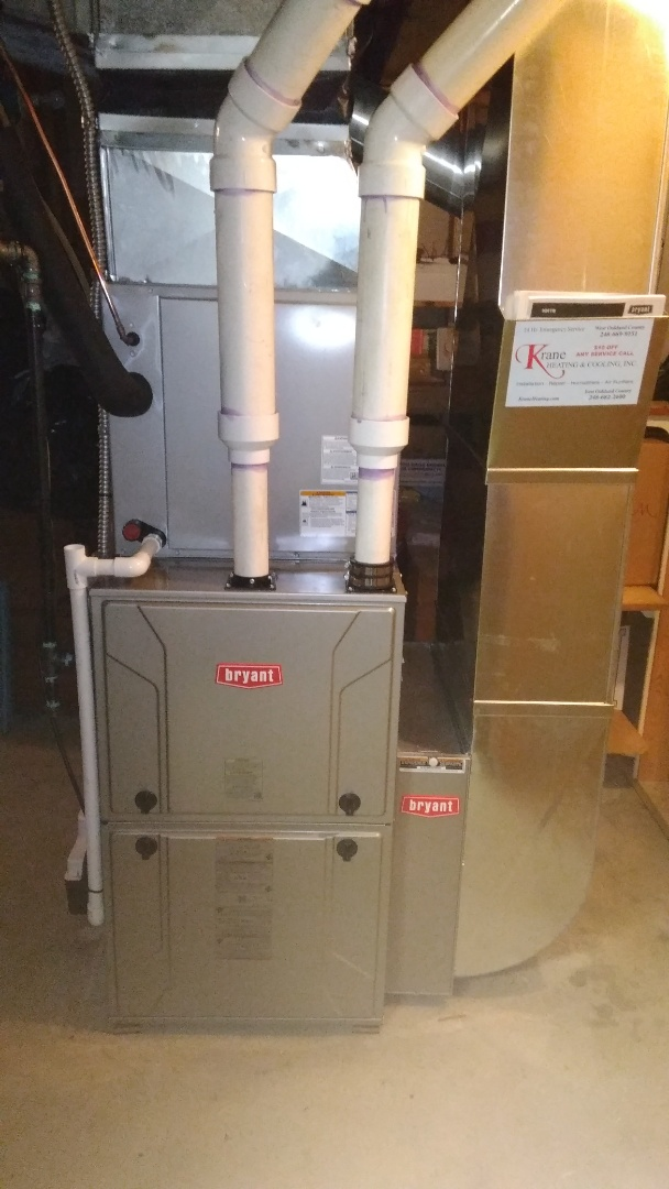 White Lake charter Township, MI -  installed a hundred thousand BTU High efficient Bryant furnace