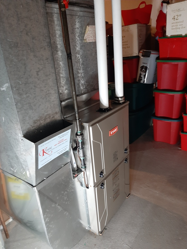 Installed a hundred thousand BTU Bryant Evolution furnace