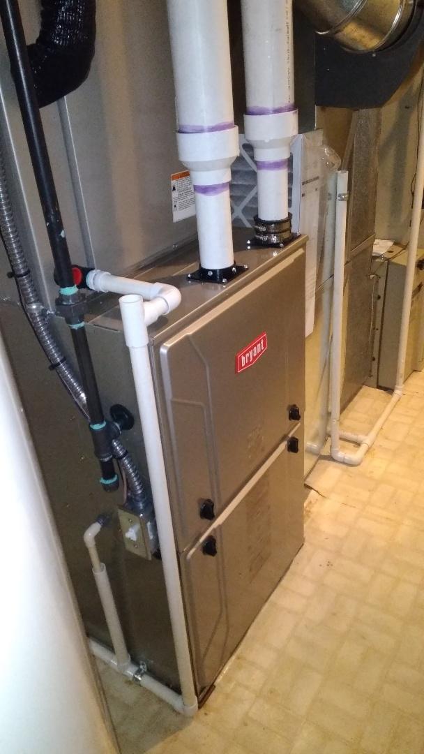 Installed a hundred thousand BTU Bryan Devolution furnace