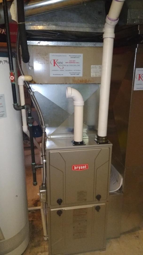 Waterford Township, MI - Installed an 80000 BTU Bryant high efficient furnace