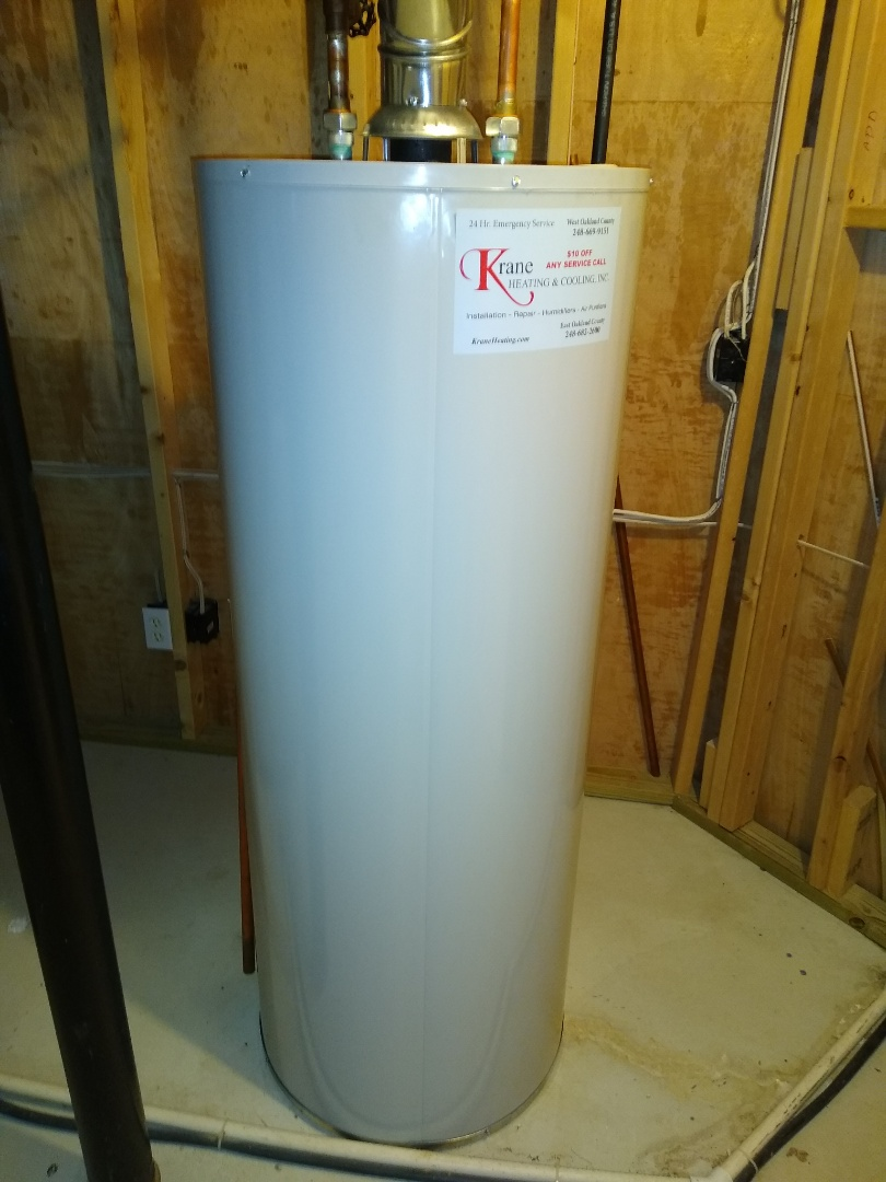 Orion charter Township, MI - Installed a Bradford White 50 gallon standard vent water heater
