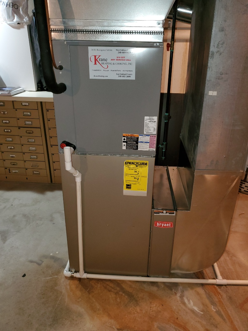 Install day 96% efficient Bryant furnace