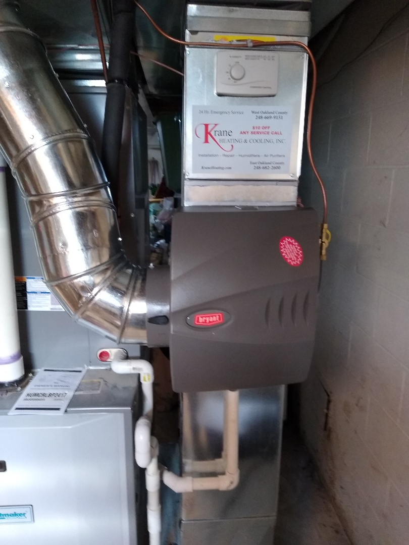 Installed a large Bryant bypass humidifier