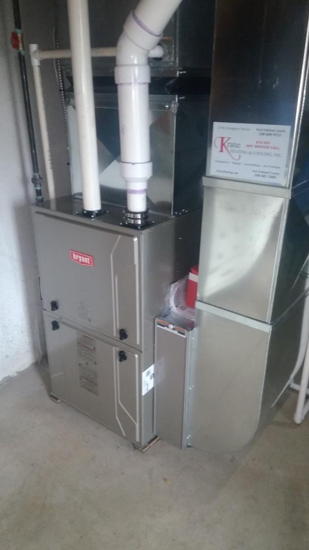 Commerce Charter Township, MI - Installed a hundred thousand BTU Bryant Evolution High efficient furnace