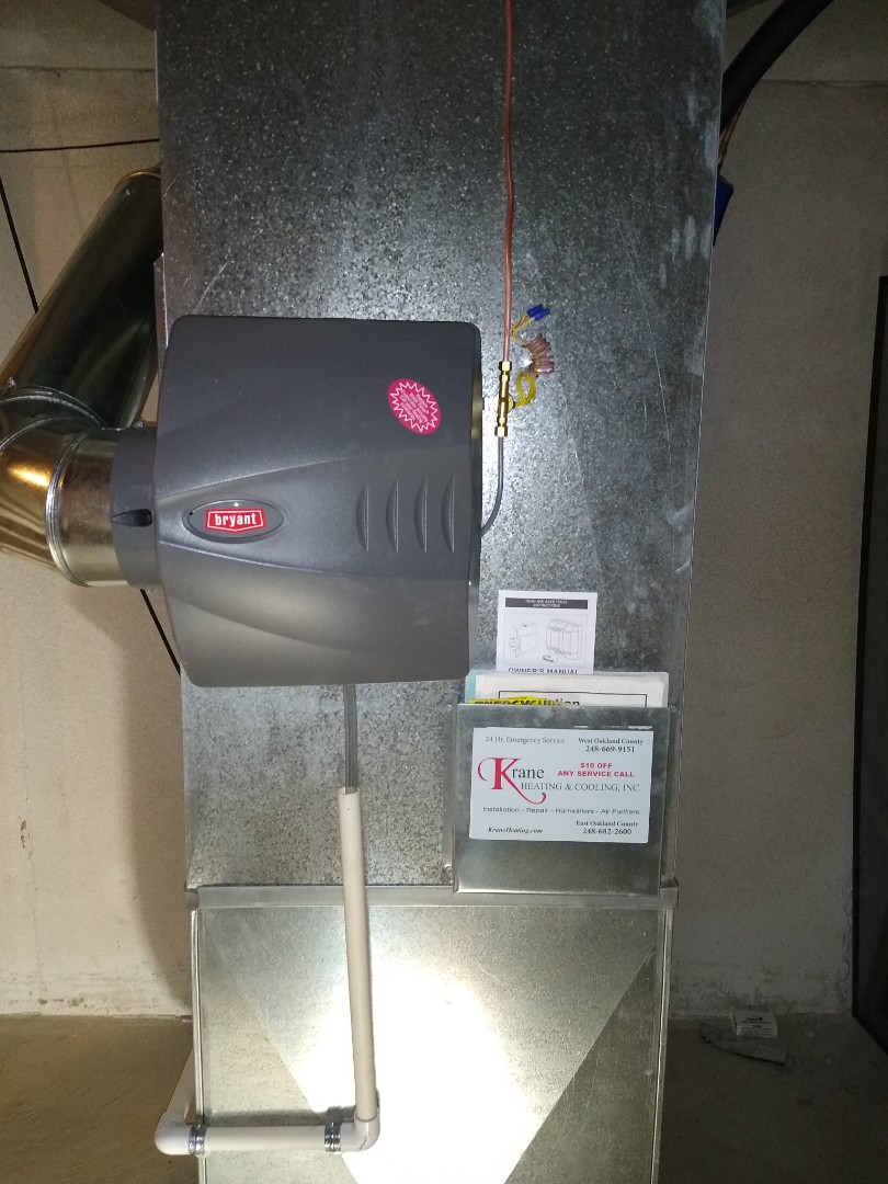 White Lake charter Township, MI - Installed a Bryant bypass humidifier