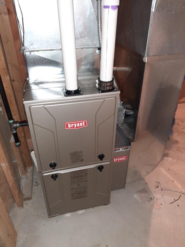 Installed an 80000 BTU Bryant high efficient furnace
