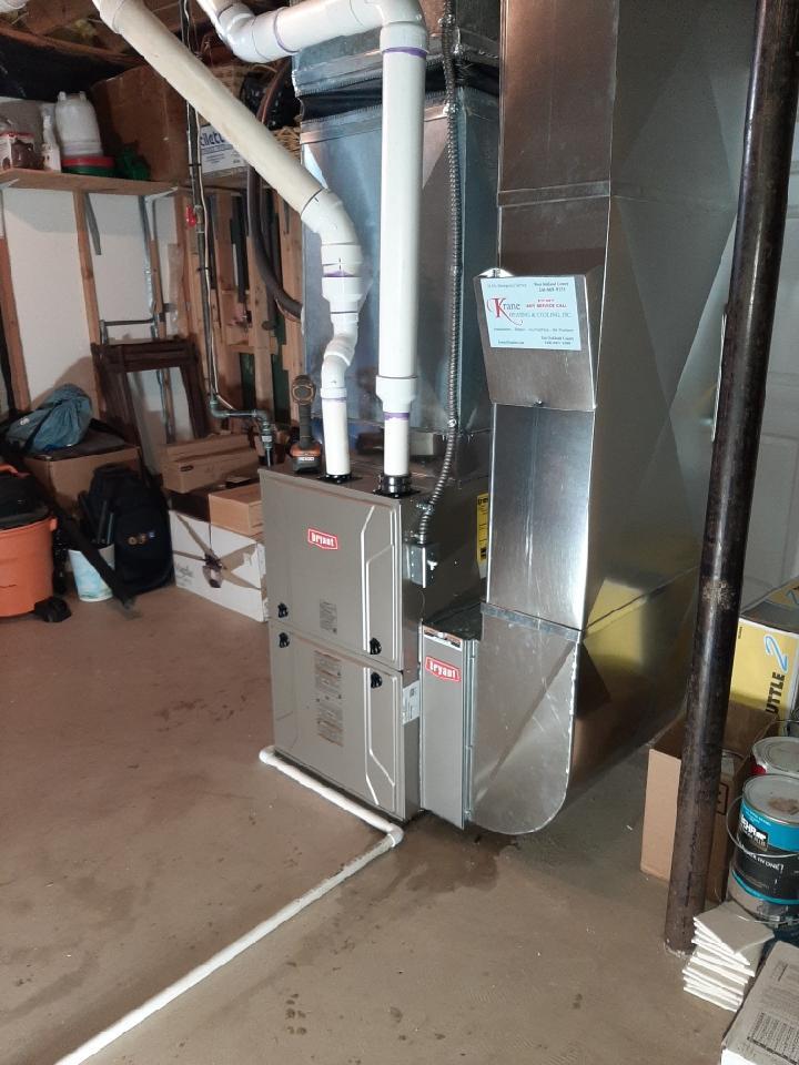 Springfield Township, MI - Installed a hundred thousand BTU Bryant high efficient furnace