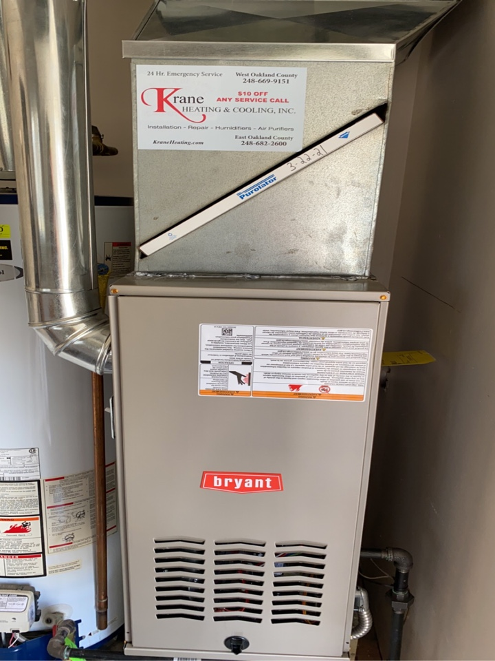 Waterford Township, MI - Installed a 80% efficient Bryant furnace.