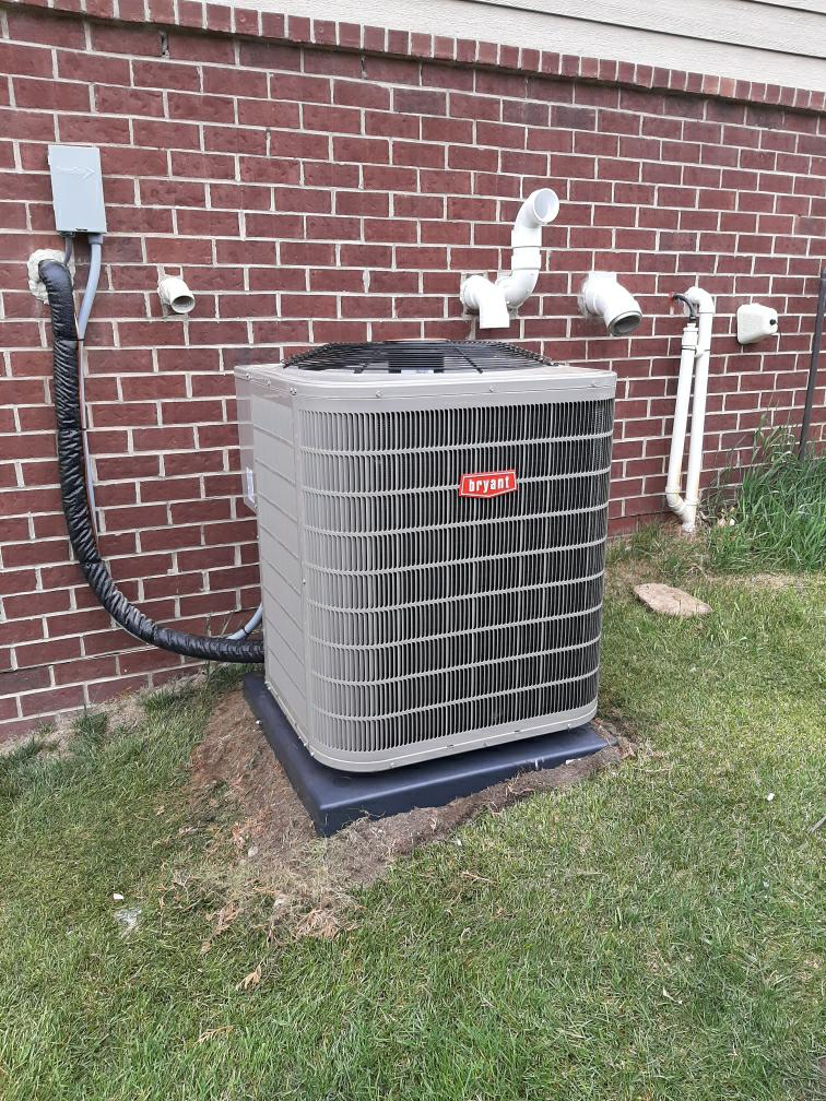 Install the four ton Bryant air conditioner all right maybe I'll see you tomorrow maybe I won't