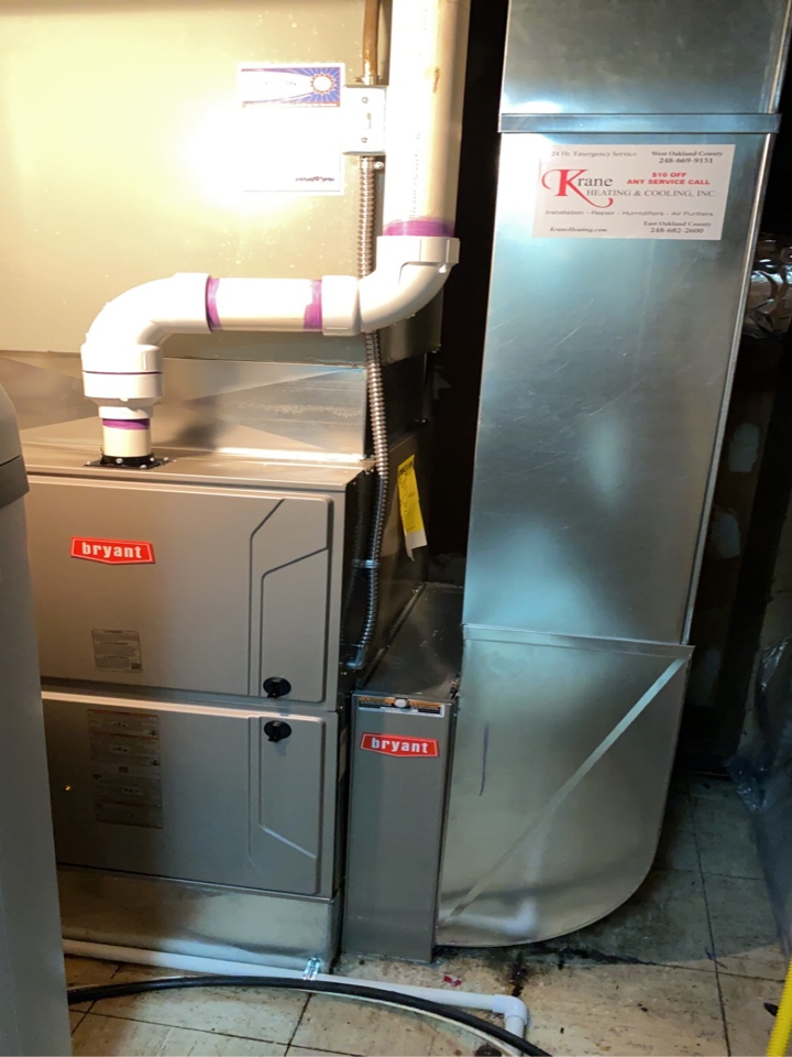 Holly, MI - Installed a Bryant 96% efficient Furnace