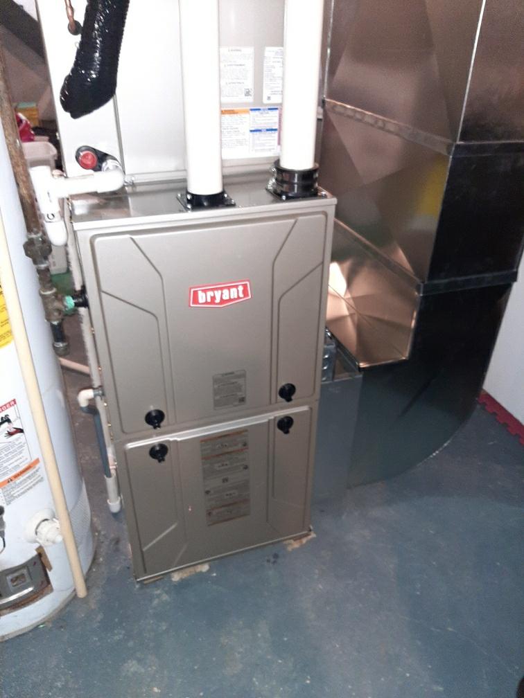 Installed a 60000 BTU Bryant high efficiency furnace