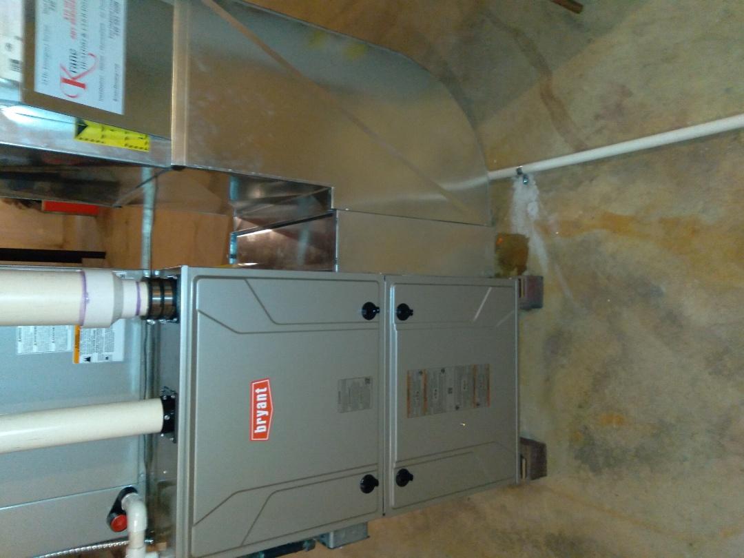 Installed hundred Thousand BTU Bryant hi efficient furnace