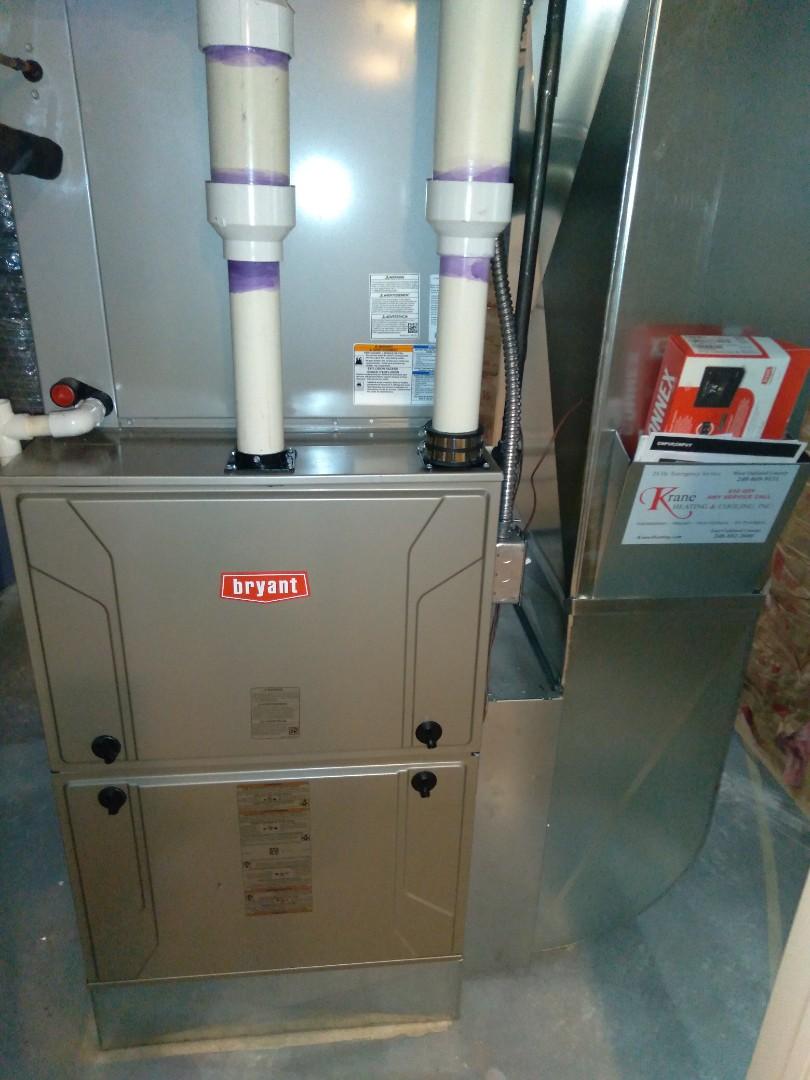 Installed 120,000 BTU Bryant Evolution furnace