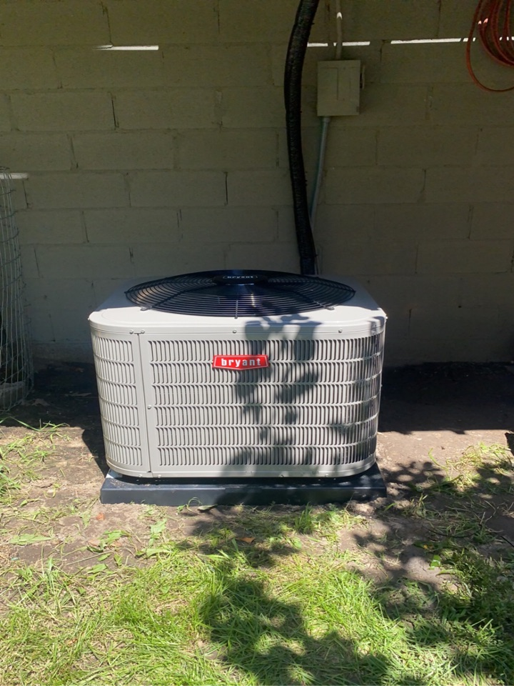 Installed a 3 ton Bryant air conditioner