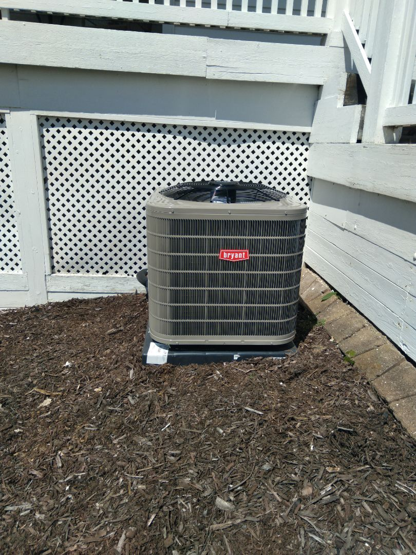 Installed a three-and-a-half ton Bryant high efficient air conditioner