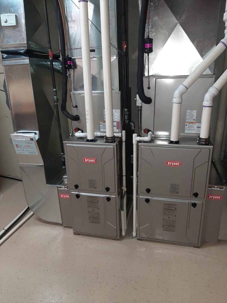 Installed a 60000 BTU and a hundred thousand BTU Bryant high efficient furnaces