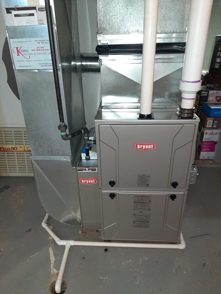 Troy, MI - Installed a hundred thousand BTU Bryant high efficiency furnace