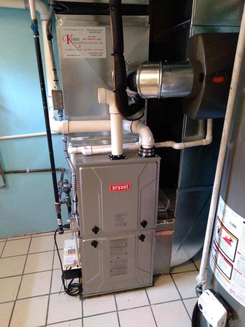 Waterford Township, MI - Installed an 80,000 BTU Bryant high efficient furnace
