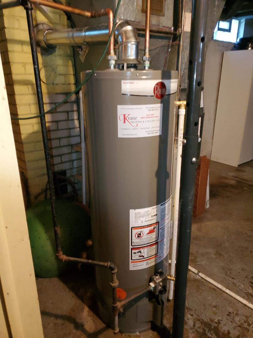 installed a rheem water heater