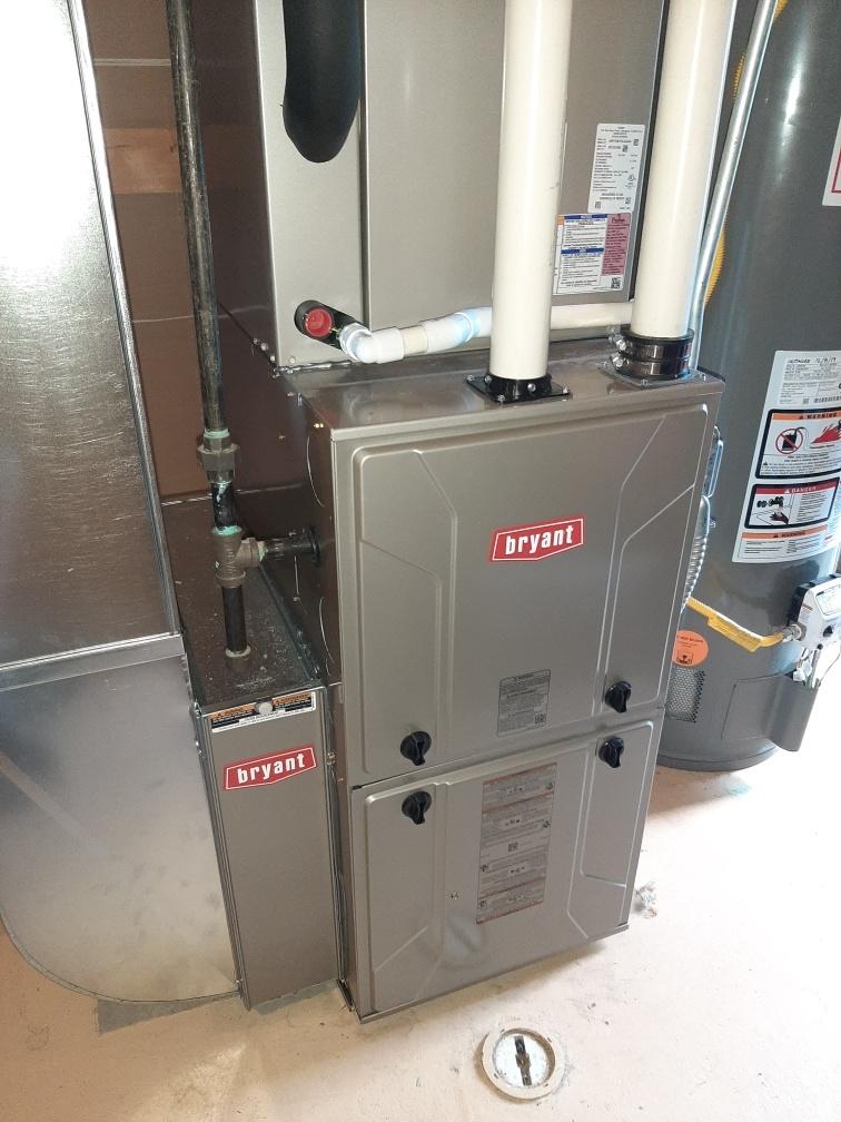 Install 80000 BTU Bryant high efficient furnace