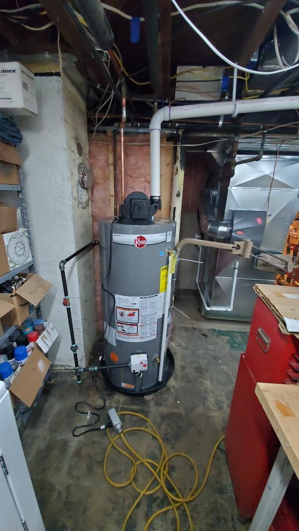 Is installed a rheem high efficiency water heater