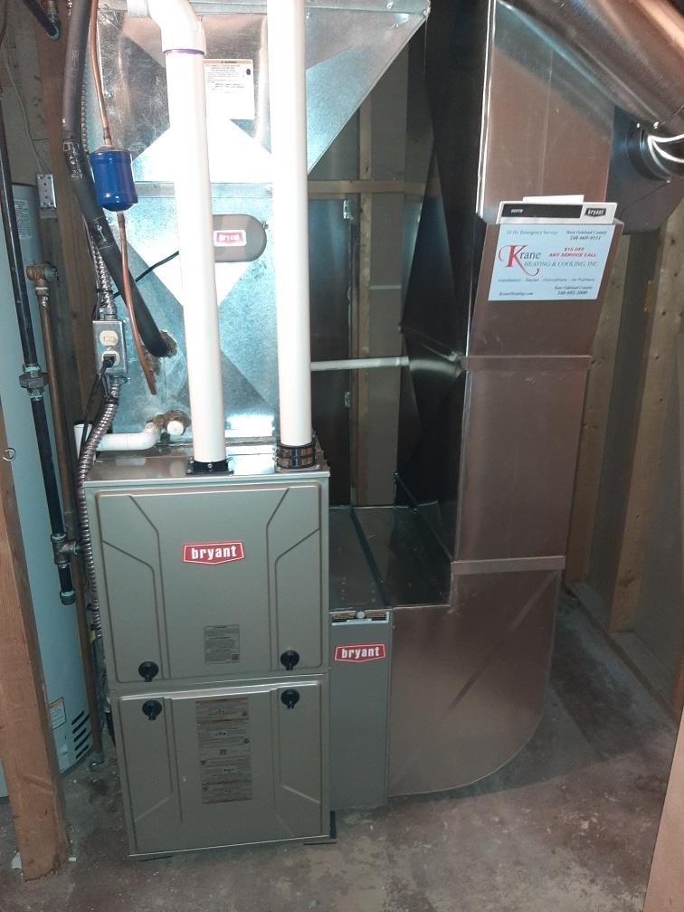 Installed an 80,000 BTU Bryant High efficient furnace