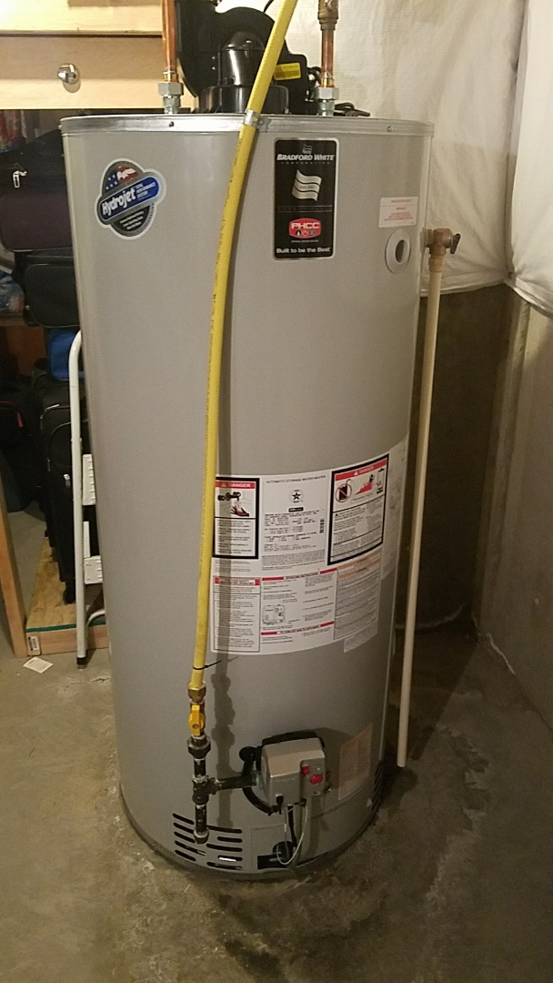 Installed a 75 gallon power vent water heater