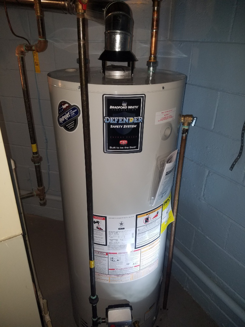 A smooth install of a new 59 gallon Bradford White water heater