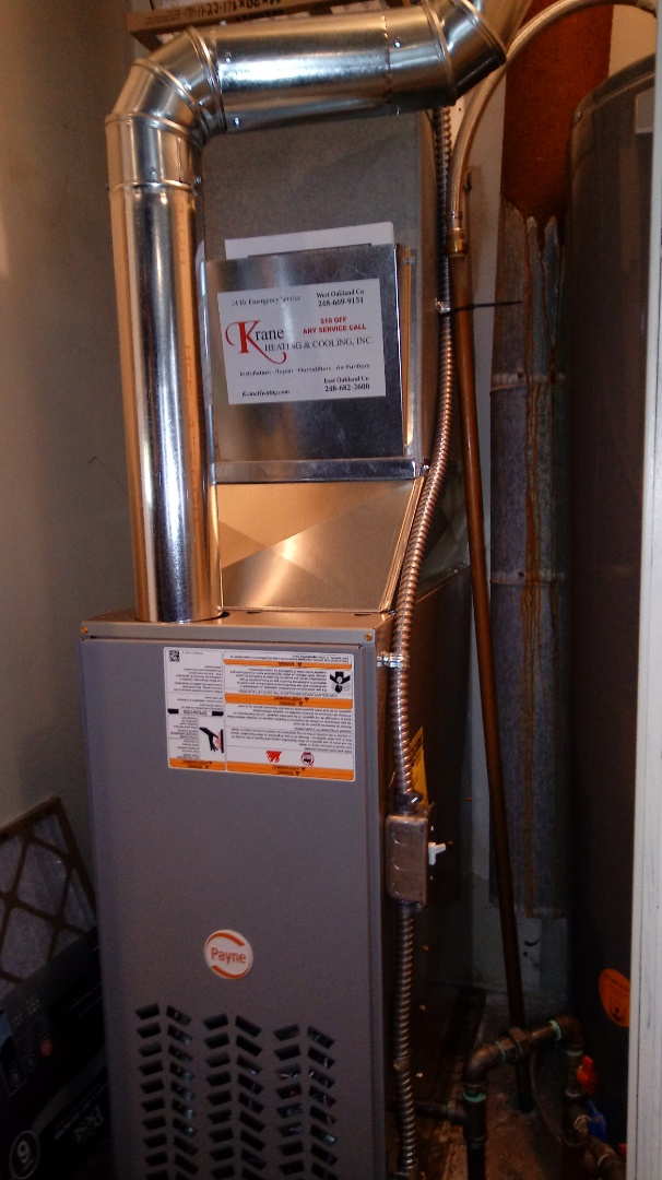 West Bloomfield Township, MI -  installed a Payne 80% efficient furnace