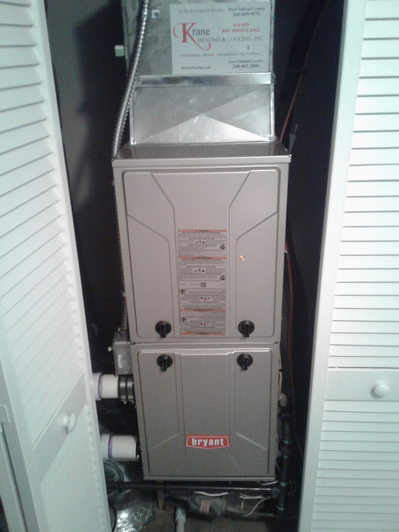 Northville, MI - Installed a new Bryant furnace in a closet